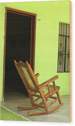 El Quelite Rocking Chair Mexico Wood Print by John  Mitchell