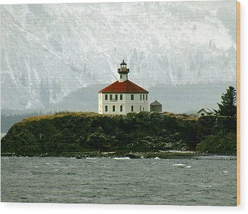 Eldred Rock Lighthouse Wood Print by Myrna Bradshaw