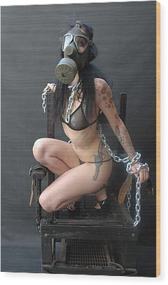 Electric Chair - Bound N Chained Wood Print by Liezel Rubin