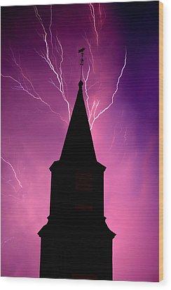 Electric Church Wood Print by Tim Scullion
