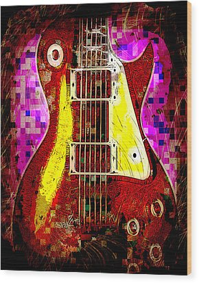 Electric Guitar Abstract Wood Print by David G Paul