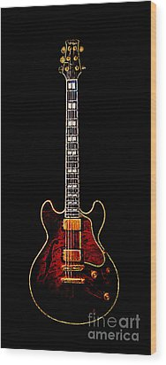 Electric Guitar . Painterly Wood Print by Wingsdomain Art and Photography