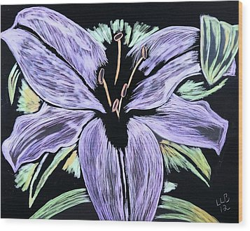 Electric Lily Phase Two Wood Print by Lisa Brandel