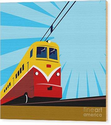 Electric Passenger Train Retro Wood Print by Aloysius Patrimonio