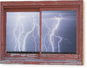 Electric Skies Red Barn Picture Window Frame Photo Art  Wood Print by James BO  Insogna