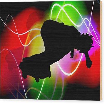 Electric Spectrum Skater Wood Print by Elaine Plesser