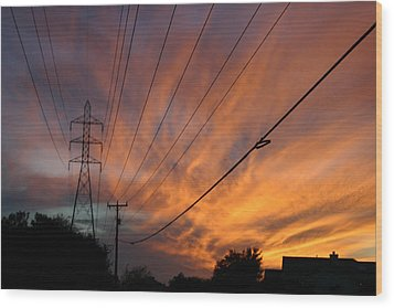 Electric Sunset Wood Print by Nina Fosdick