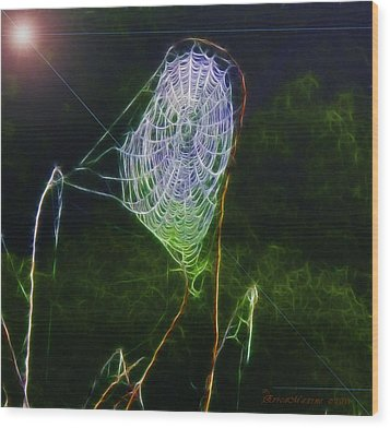 Electric Web In The Fog Wood Print by EricaMaxine  Price