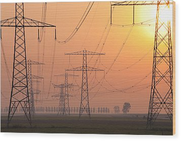 Electricity Pylons Wood Print by Hans Engbers
