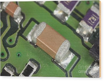 Electronics Board With Lead Solder Wood Print by Ted Kinsman