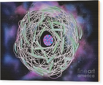 Electrons Orbiting Atom Wood Print by Omikron