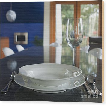Elegant Place Setting In A Dining Room Wood Print by Marlene Ford