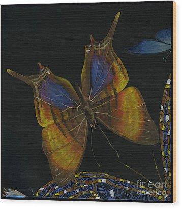 Wood Print featuring the painting Elena Yakubovich - Butterfly 2x2 Top Left Corner by Elena Yakubovich