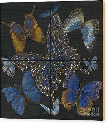 Wood Print featuring the painting Elena Yakubovich Butterfly 2x2 by Elena Yakubovich