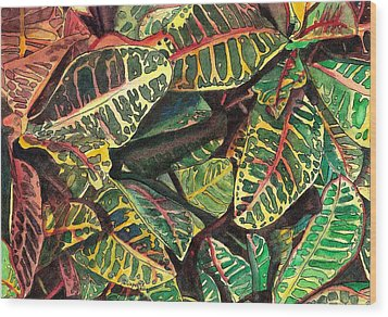 Elena's Crotons Wood Print by Marionette Taboniar