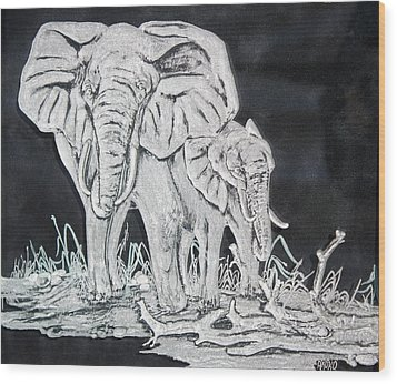 Elephant And Calf Wood Print by Akoko Okeyo