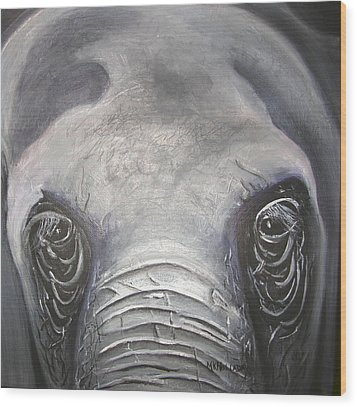 Wood Print featuring the painting Elephant Eyes by Mary Kay Holladay