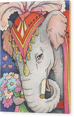 Elephant Flowers Wood Print by Amy S Turner
