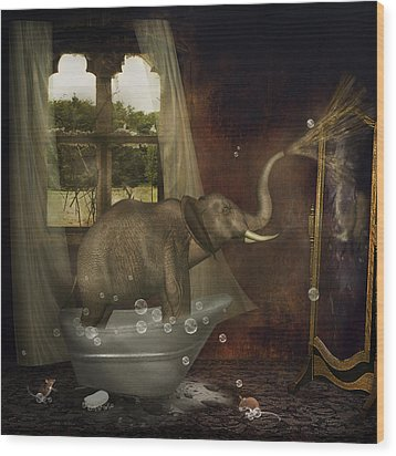 Elephant In Bath Wood Print