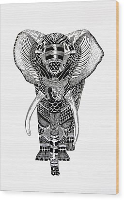 Elephant Wood Print by JF Mondello