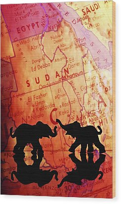 Elephant Silhouettes In Front Of A Map Wood Print by Chris Knorr