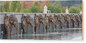 Elephants Of The Mandir Wood Print