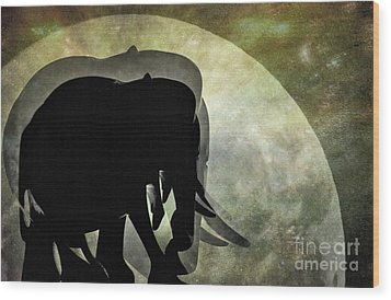 Elephants On Moonlight Walk 2 Wood Print by Kaye Menner