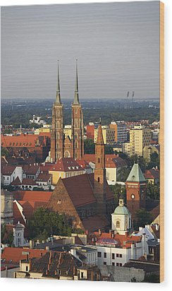 Elevated View Of Wroclaw With Church Spires Wood Print by Guy Vanderelst