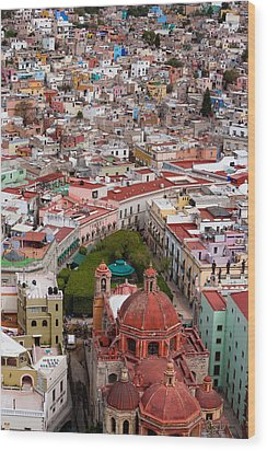 Elevated View Over The City Of Guanajuato In Mexico Wood Print by Mint Images/ Art Wolfe