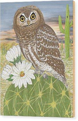 Wood Print featuring the digital art Elf Owl by Walter Colvin
