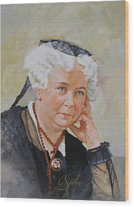 Wood Print featuring the painting Elizabeth Cady Stanton by Cliff Spohn