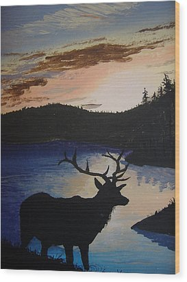 Wood Print featuring the painting Elk At Sunset by Norm Starks
