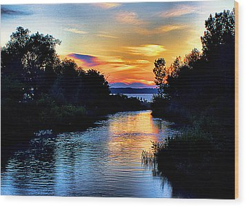 Elk Rapids Sunset Wood Print by Matthew Winn