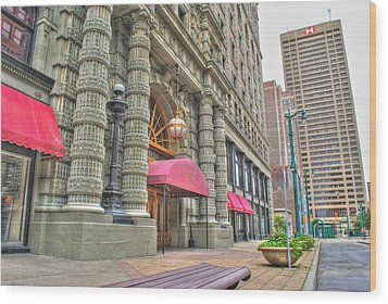 Wood Print featuring the photograph Ellicott Square Building And Hsbc by Michael Frank Jr