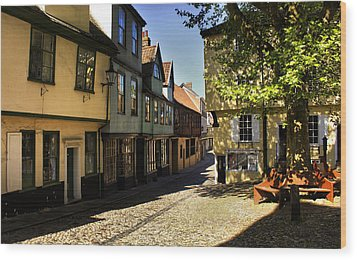 Elm Hill Norwich Wood Print by Darren Burroughs