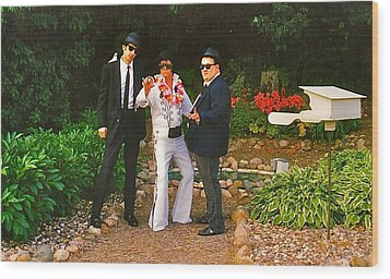 Elvis And The Blues Wood Print by Randy Rosenberger