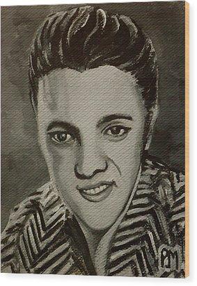 Elvis In Z Shirt Wood Print by Pete Maier