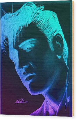 Elvis Neon Wood Print by Michael Mestas