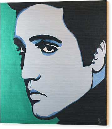 Elvis Presley - Blue Green Wood Print by Bob Baker
