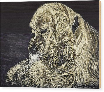Elvis The Dog Wood Print by Robert Goudreau