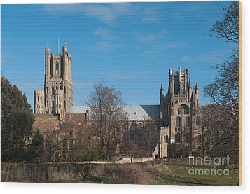 Ely Cathedral In City Of Ely Wood Print by Andrew  Michael