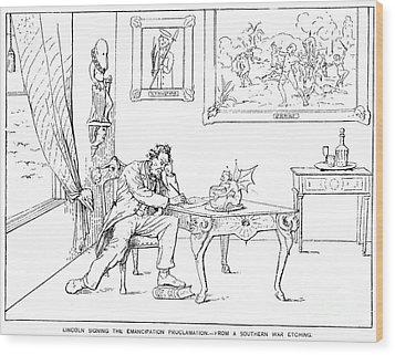 Emancipation Cartoon Wood Print by Granger