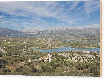 Embalse De La Viñuela, Vinuela Reservoir, Spain Wood Print by Ken Welsh