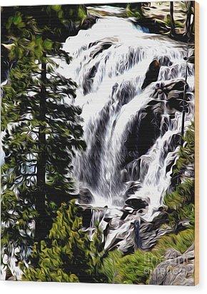 Emerald Bay Waterfall Wood Print by Anne Raczkowski