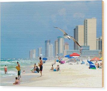 Wood Print featuring the photograph Emerald Beach by Anna Rumiantseva