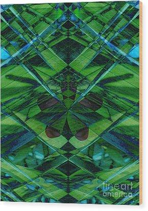 Emerald Cut Wood Print by Ann Powell