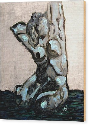 Emerald Green And Blue Expressionist Nude Female Figure Painting Filled With Emotion And Movement Wood Print