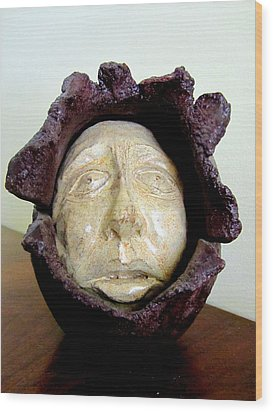 Emerging White Pale Face Born Out Of A Brown Purple Thing Eyes Nose Mouth Wood Print by Rachel Hershkovitz