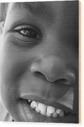 Emery Smile Wood Print by Sally Bauer