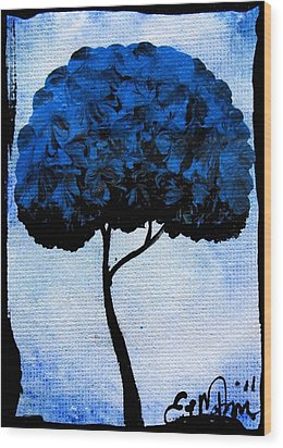 Wood Print featuring the painting Emily's Trees Blue by Oddball Art Co by Lizzy Love